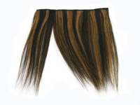 "Clip-In Fringe - 8"" Human Hair - #1B/#30 Off Black / Auburn Stripe"