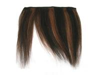"Clip-In Fringe - 8"" Human Hair - #1B/#33 Off Black / Dark Auburn Stripe"