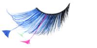 Stargazer False Eyelashes #62 (Blue & Black with Blue, Pink & Green Feathers)
