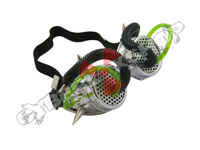 Cyber Goggles - Metallic Silver with Cyber Spikes / Green & Black Tubing