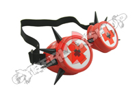 Cyber Goggles - Red with Black Cyber Spikes / Medical Cross