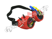 Cyber Goggles - Red with Black Cyber Spikes / Blue Yellow Tubing
