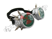 Cyber Goggles - Matt Silver with Cyber Spikes / Circuit Board