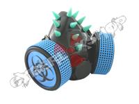 Cyber Respirator - Black / UV Blue Spikes / Biohazard