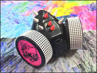 Cyber Respirator - Black / UV Pink & White Spikes / Steam Kitty