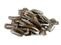 32mm Brown Weft Hair Clips (pack of 10)