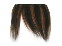 "Clip-In Fringe - 8"" Human Hair - #1B/#33 Off Black / Dark Auburn Stripe"