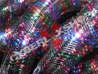 Tubular Crin - Large - Black Non-Metallic with Royal Blue Red Emerald Fuchsia (5 yds)