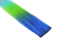 "Clip-In Extensions - Royal Blue / Neon Green / Aqua 12"" (pack of 2)"