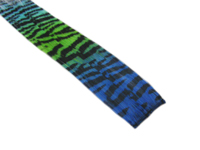 "Clip-In Extensions - Royal Blue Neon Green Aqua Transitional / Black Tiger Zebra Print 12"" (pack of 2)"