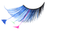 Stargazer False Eyelashes #62 (Blue & Black with Blue, Pink & Green Feathers)