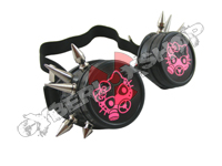 Cyber Goggles - Black with Cyber Spikes / Pink Gas Kitty