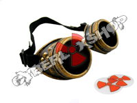Cyber Goggles - Steampunk Antique Brass - Includes FREE Lense Design Inserts!