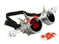 Cyber Goggles - Metallic Silver with Cyber Spikes - Includes FREE Lense Design Inserts!