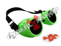 Cyber Goggles - Neon Green - Includes FREE Lense Design Inserts!