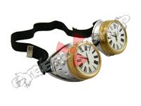 Cyber Goggles - Steampunk Metallic Silver Clock Face