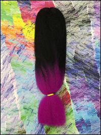 Jazzy Kanekalon Jumbo Braid - 2 Tone - #1B Off Black / Hot Purple