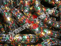 Tubular Crin - Mini - Black Non-Metallic with Red Green Gold Silver (5 yds)