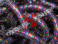 Tubular Crin - Mini - Black Non-Metallic with Royal Red Emerald Fuchsia (5 yds)