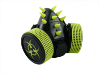 Cyber Respirator - Black / UV Yellow Spikes / Biohazard