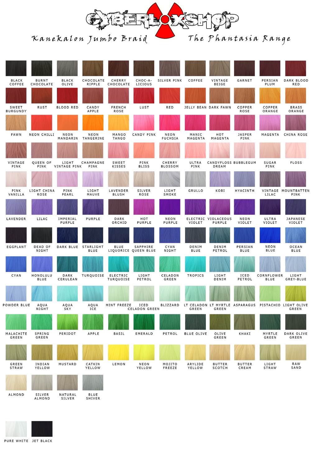 Cyberloxshop phantasia kanekalon jumbo braid cyberloxshop the phantasia kanekalon jumbo braid colour chart nvjuhfo Image collections